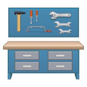 Blaue Werkbank kaufen mit Werkzeug